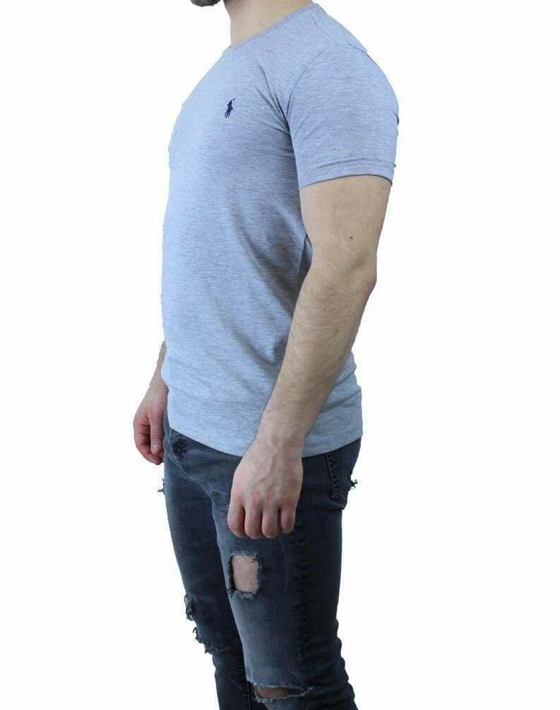 Ralph Lauren Crew Neck Men's T-Shirt Light Gray - Navy