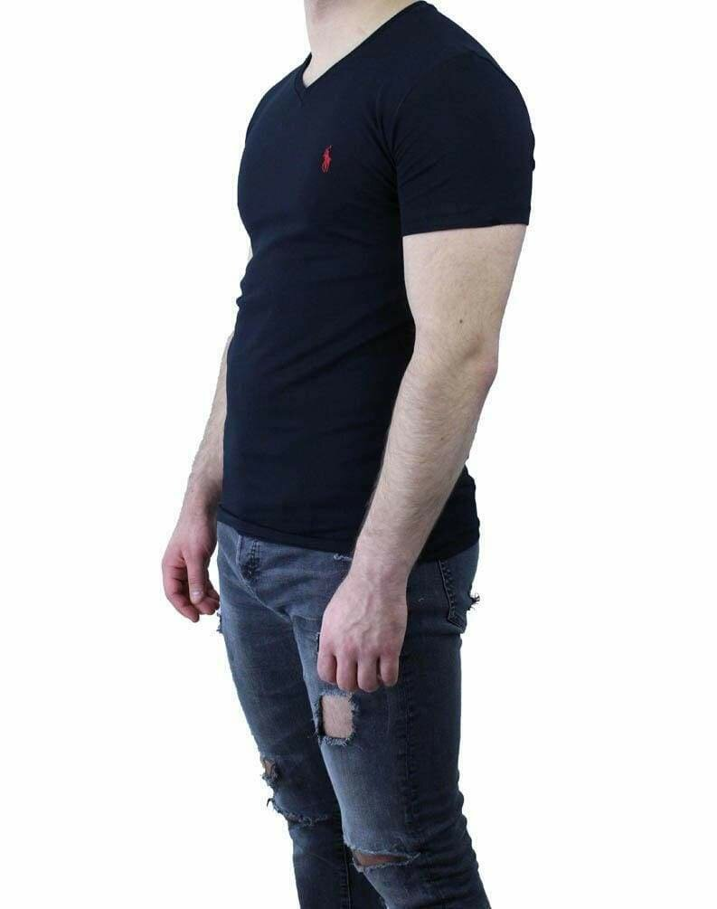 Ralph Lauren V Neck Men's T-Shirt Black - Red