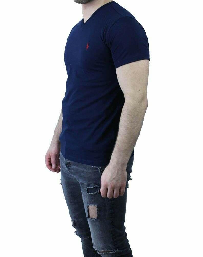 Ralph Lauren V Neck Men's T-Shirt Navy - Red