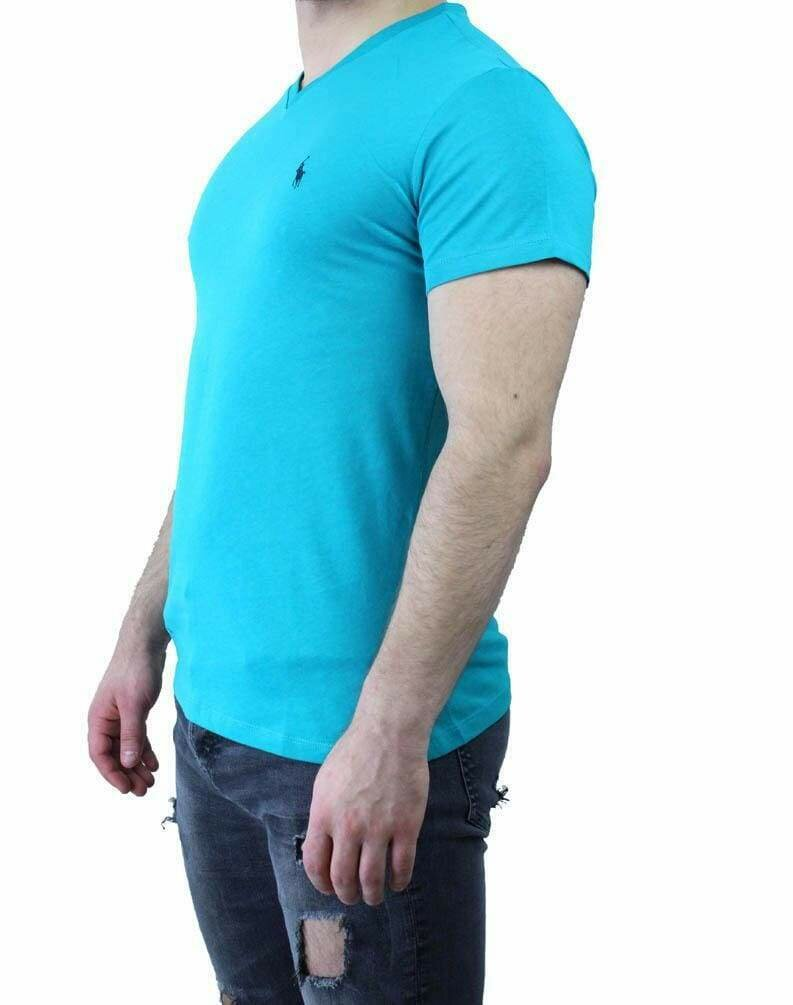 Ralph Lauren V Neck Men's T-Shirt Turquoise - Navy