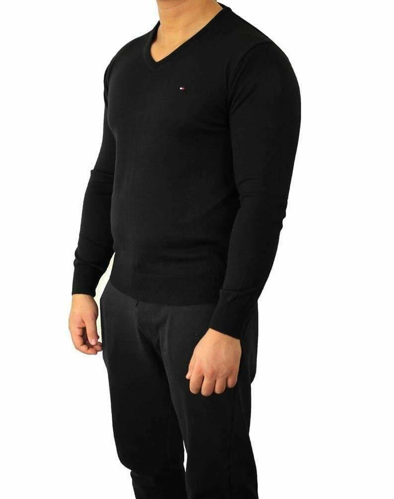 Tommy Hilfiger V Neck Men's Pullover Black