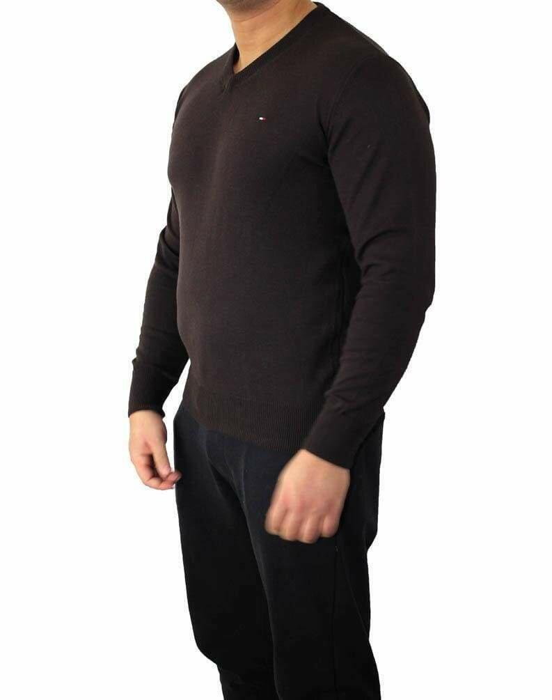 Tommy Hilfiger V Neck Men's Pullover Brown