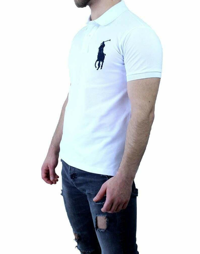 Ralph Lauren Slim Fit Men's Polo Shirts Big Pony White - Black
