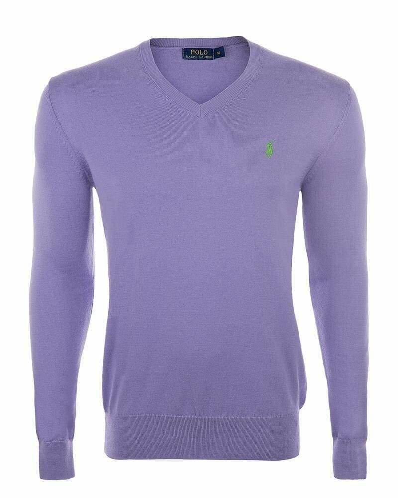 Ralph Lauren V Neck Men's Pullover Lila - Green