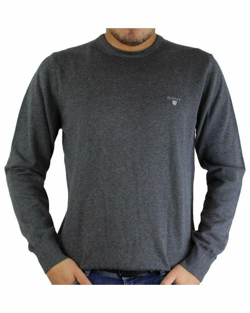 Gant Men's Pullover Crew - Neck Dark Gray