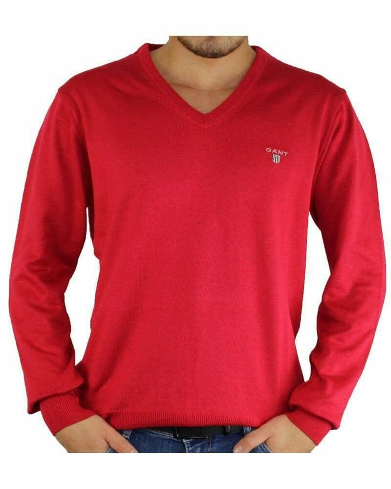 Gant Men's Pullover V - Neck Red