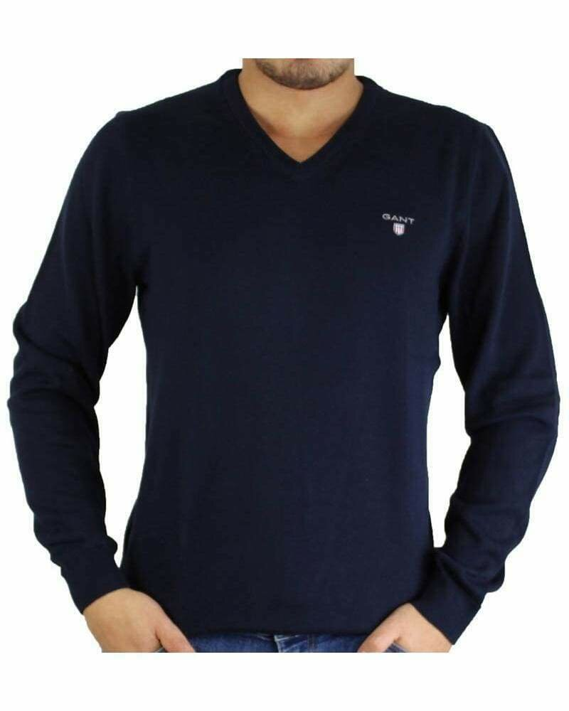 Gant Men's Pullover V - Neck Navy