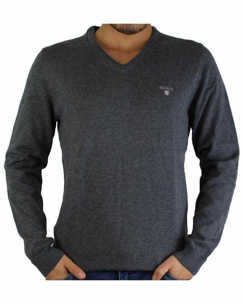 Gant Men's Pullover V - Neck Dark Gray