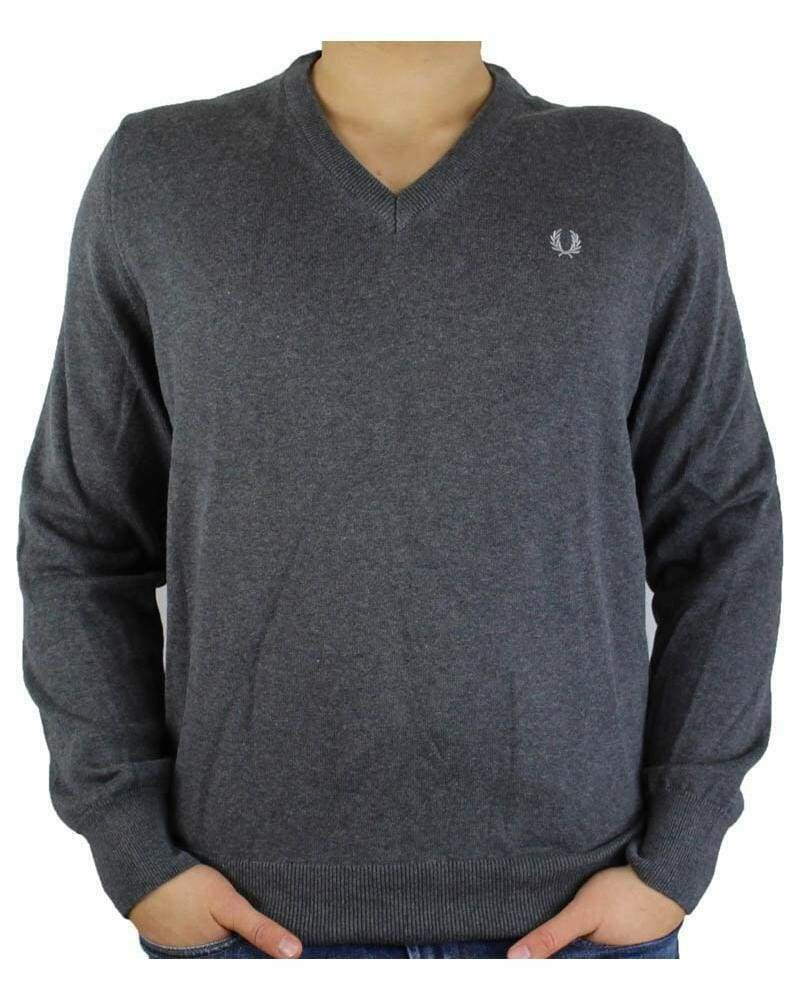 Fred Perry V Neck Men's Pullover Dark Gray