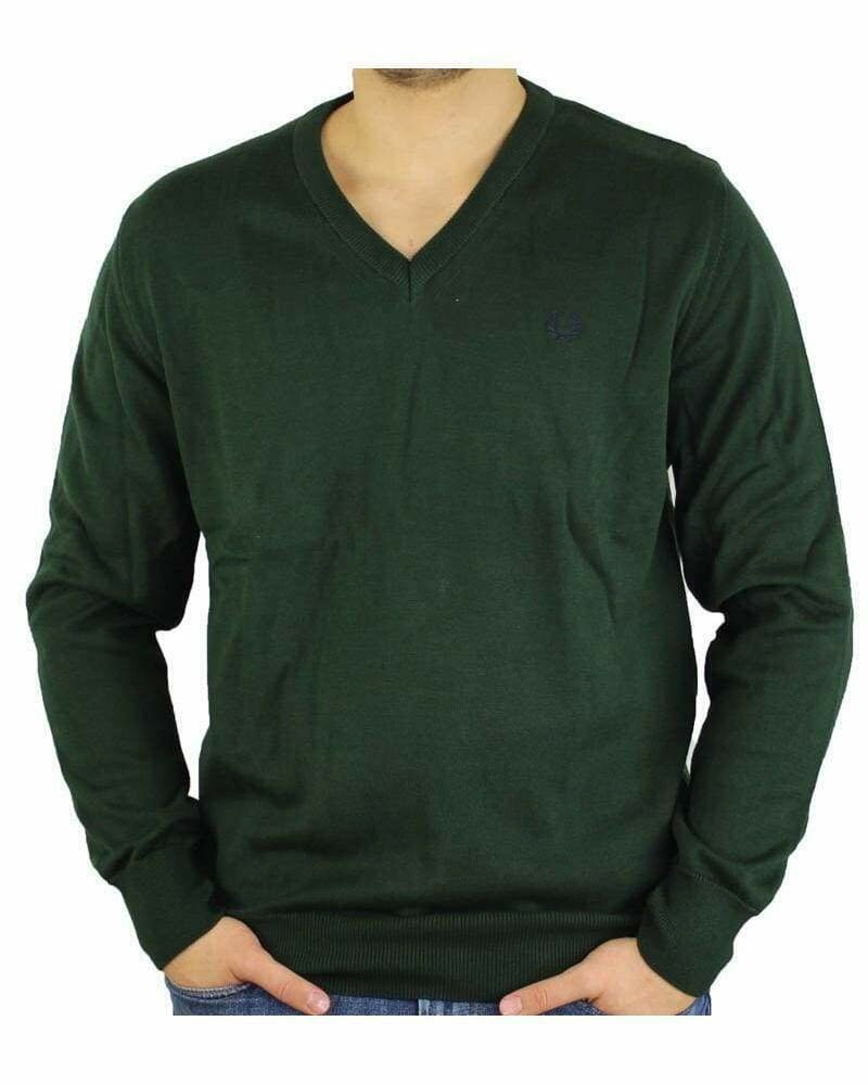 Fred Perry V Neck Men's Pullover Green