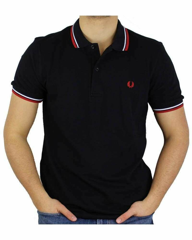 Fred Perry Men's Polo Black - Red