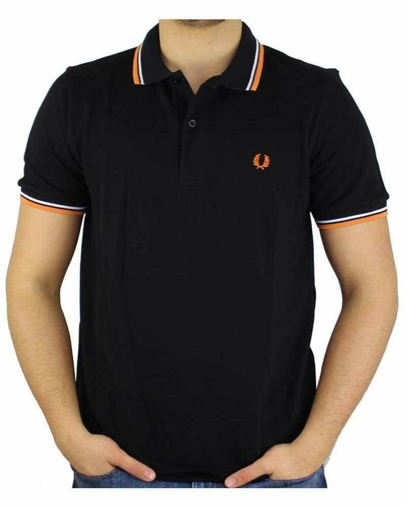 Fred Perry Men's Polo Black - Orange