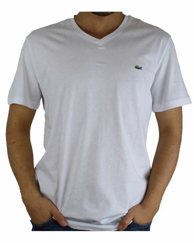 Lacoste Men's T-Shirt V Neck White
