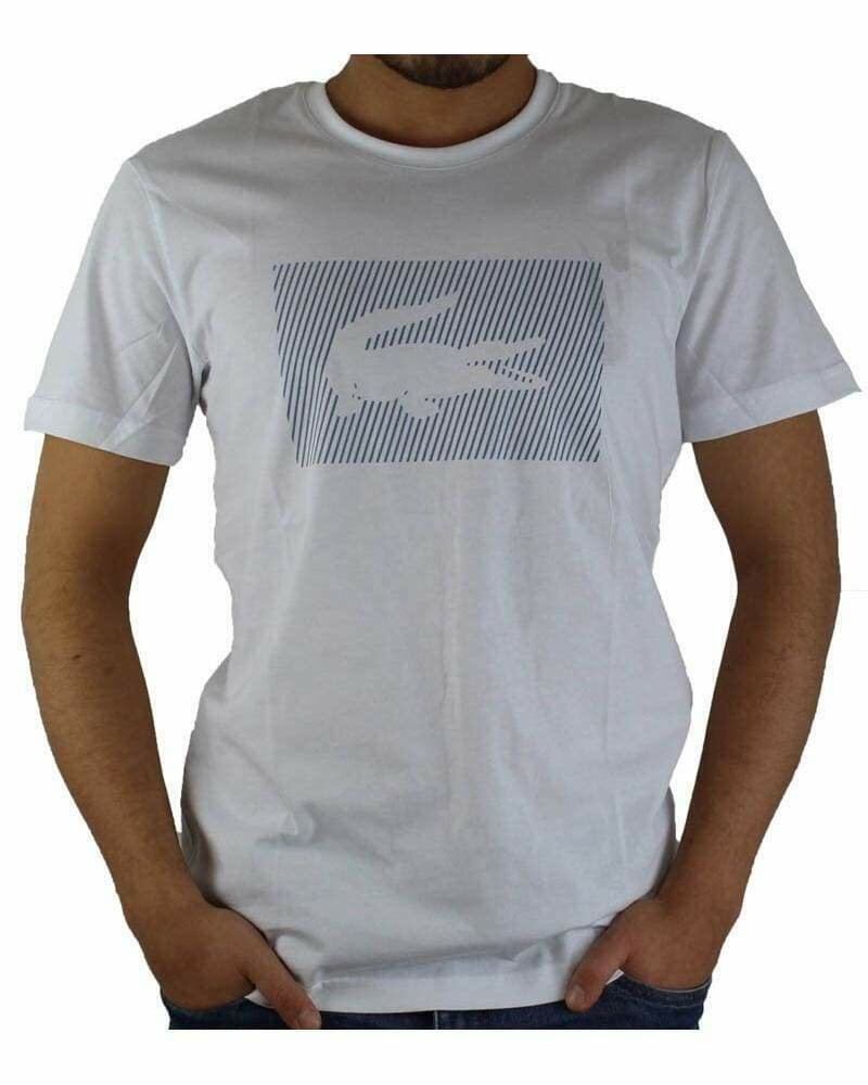 Lacoste Men's T-Shirt Crocodile Brand Crew Neck White