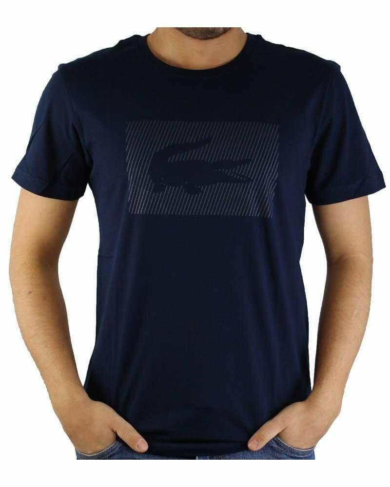 Lacoste Men's T-Shirt Crocodile Brand Crew Neck Navy
