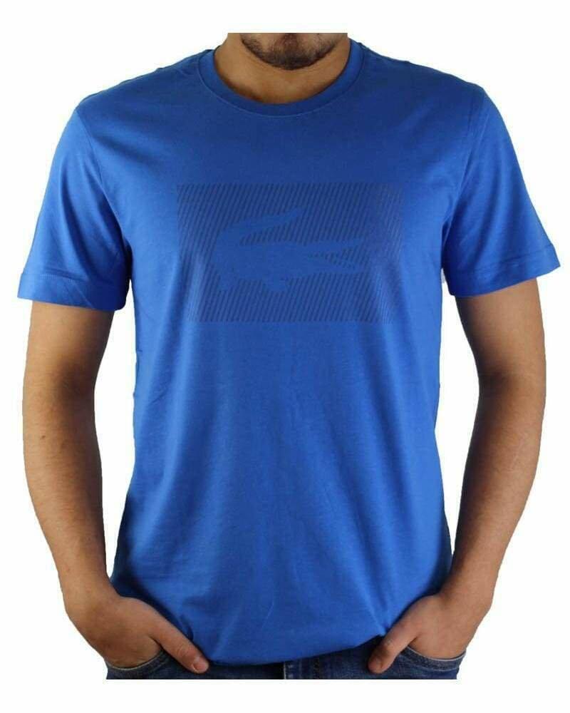 Lacoste Men's T-Shirt Crocodile Brand Crew Neck Sax Blue
