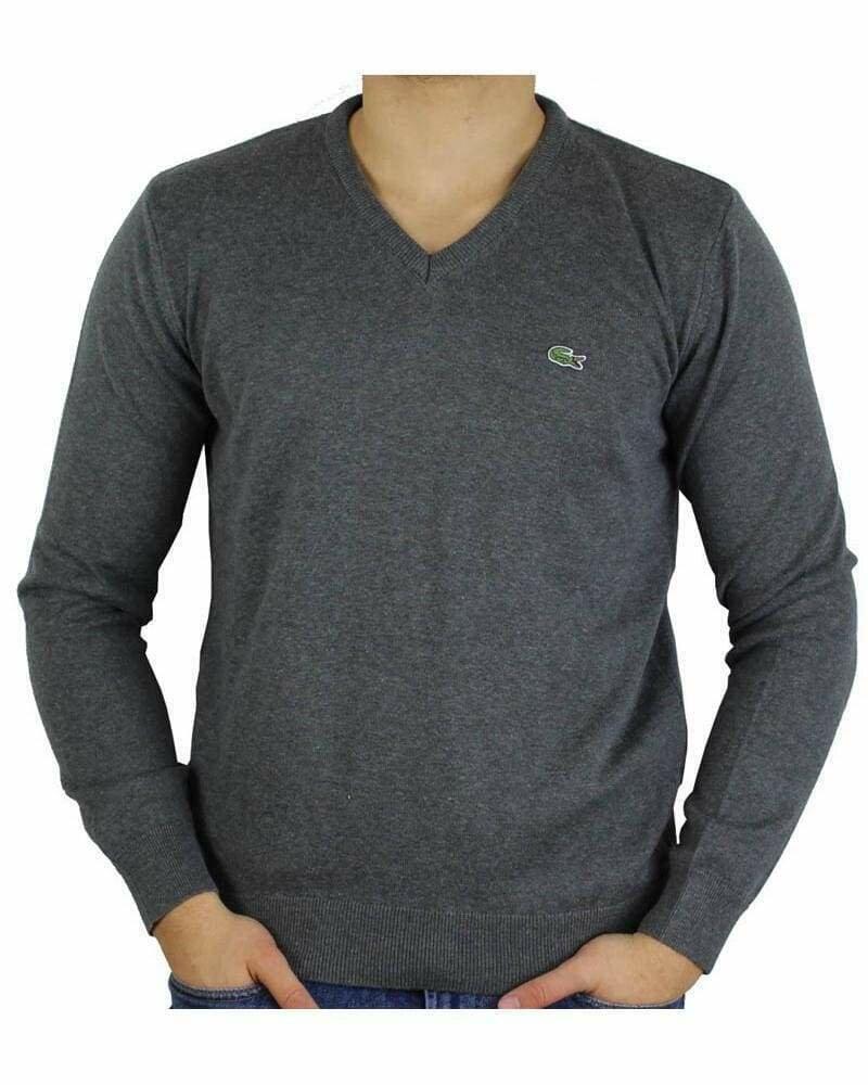 Lacoste Men's Pullover V - Neck Dark Gray