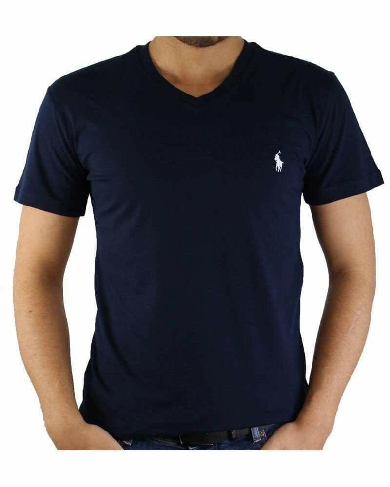 Ralph Lauren V - Neck Men's T-Shirt Navy - White