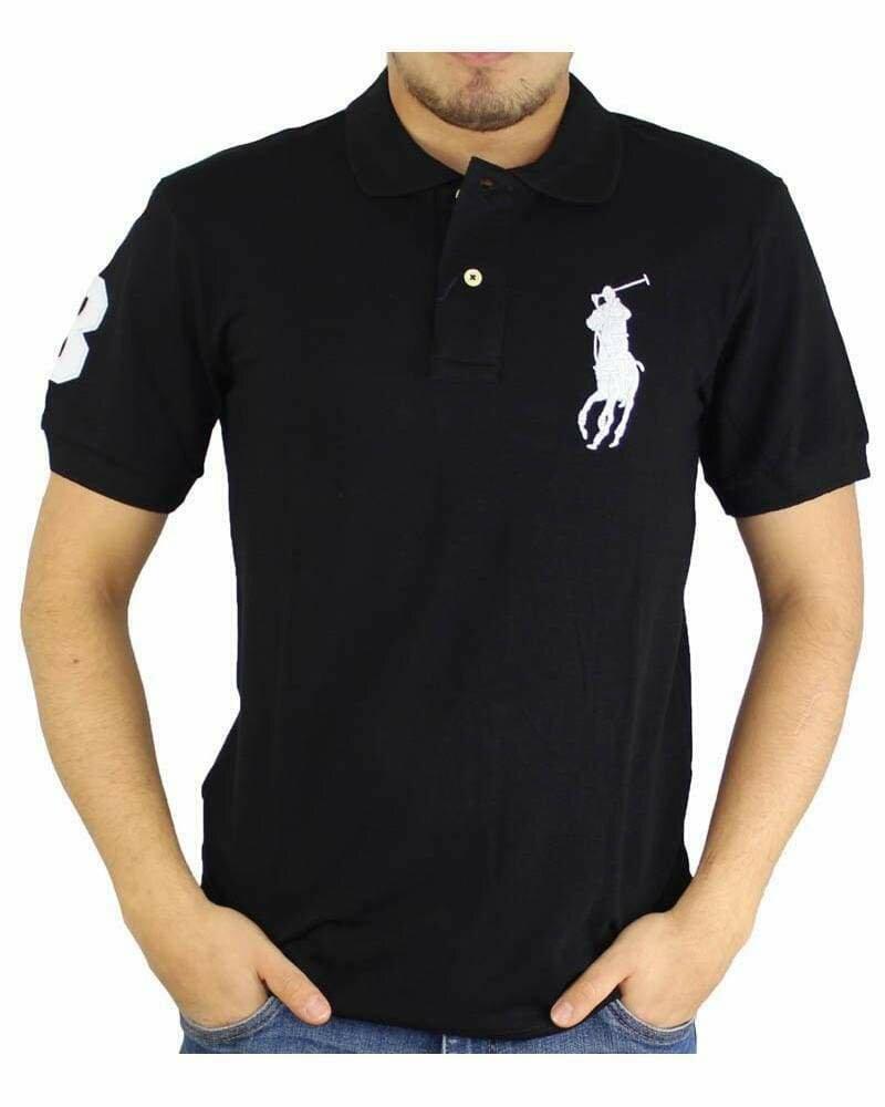 Ralph Lauren Slim Fit Men's Polo Shirts Big Pony Black - White