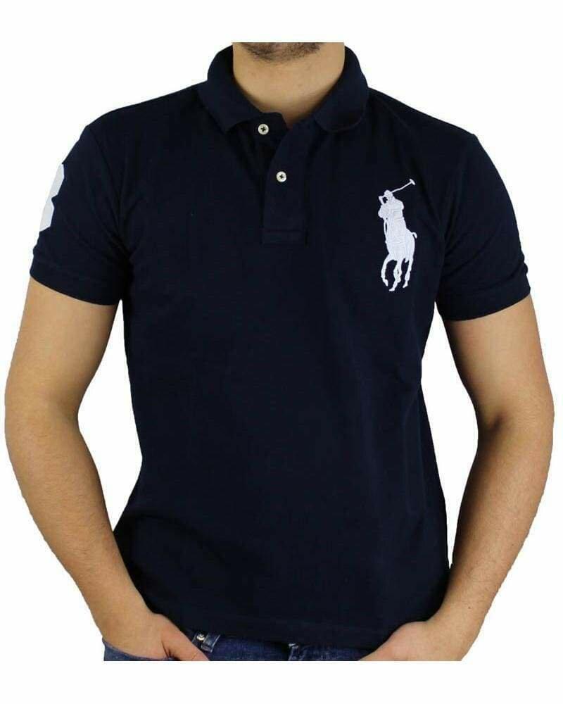 Ralph Lauren Slim Fit Men's Polo Shirts Big Pony Navy - White