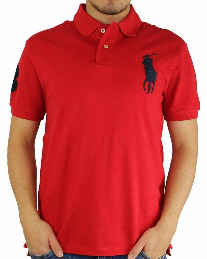 Ralph Lauren Slim Fit Men's Polo Shirts Big Pony Red