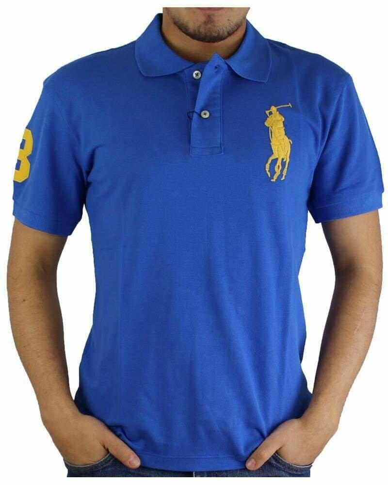 Ralph Lauren Slim Fit Men's Polo Shirts Big Pony Sax Blue