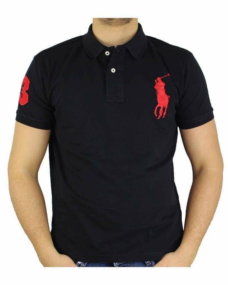 Ralph Lauren Custom Fit Men's Polo Shirts Big Pony Black - Red