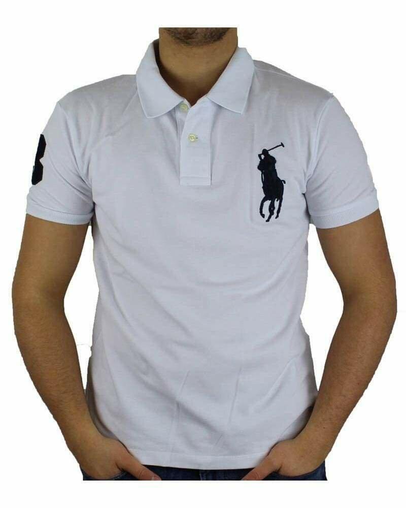 Ralph Lauren Custom Fit Men's Polo Shirts Big Pony White - Black