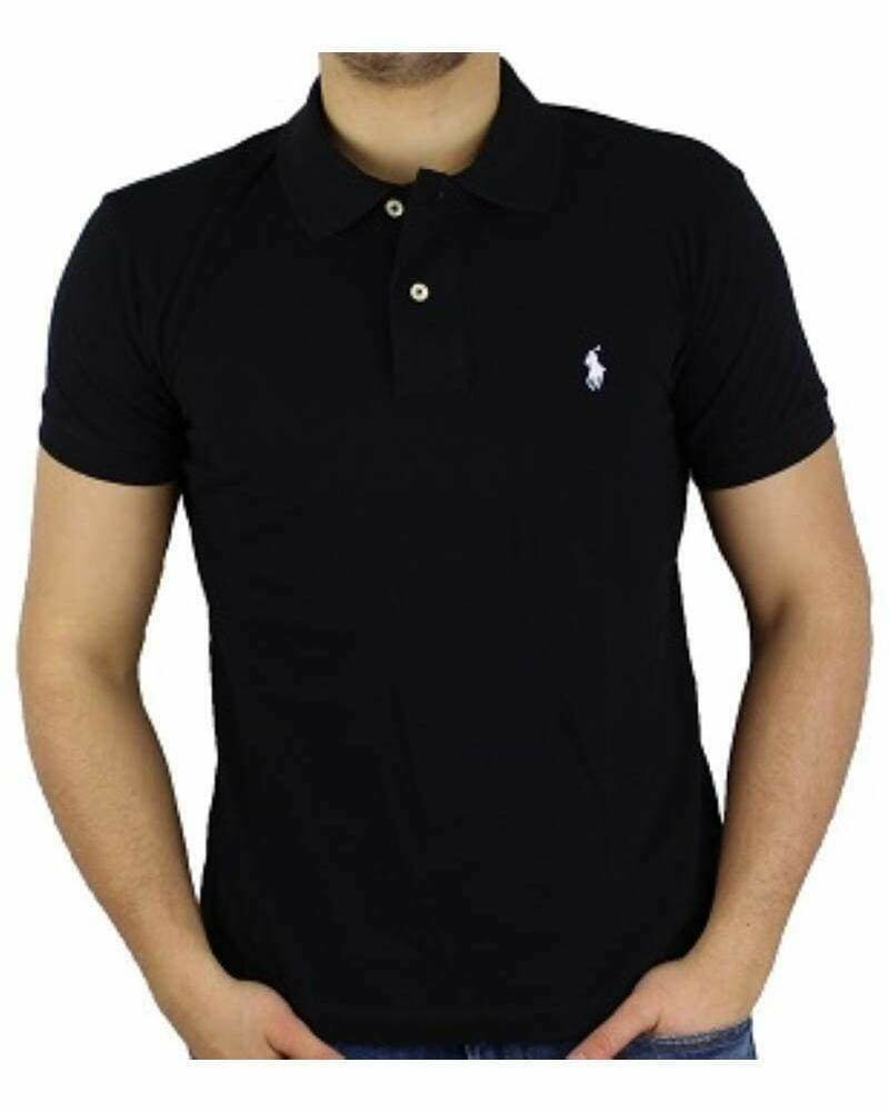 Ralph Lauren Custom Fit Men's Polo Shirts Small Pony Black - White