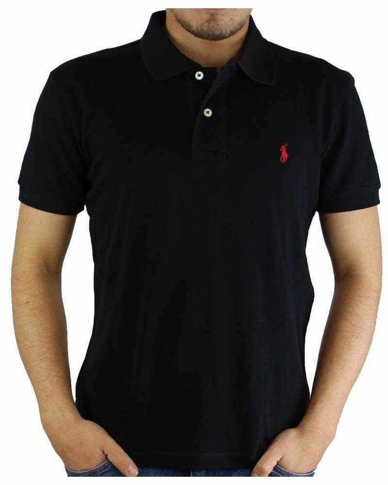 Ralph Lauren Custom Fit Men's Polo Shirts Small Pony Black - Red