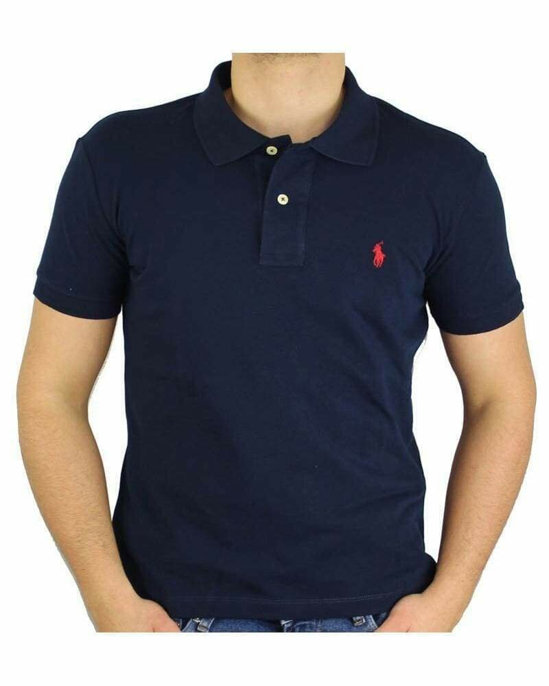 Ralph Lauren Custom Fit Men's Polo Shirts Small Pony Navy - Red