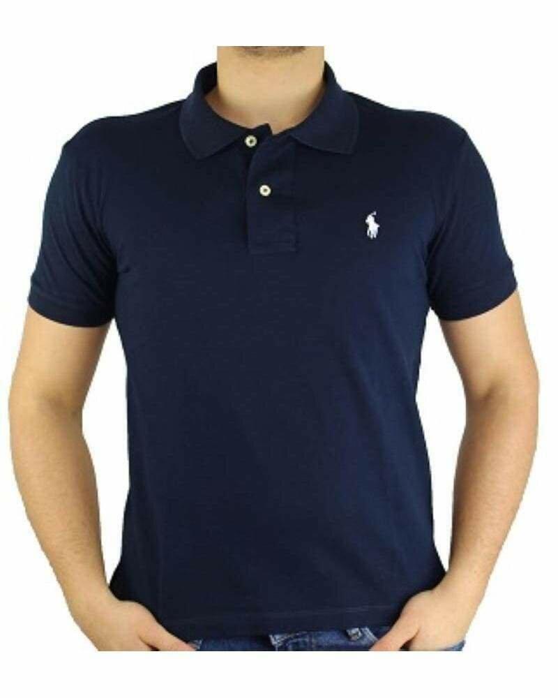 Ralph Lauren Custom Fit Men's Polo Shirts Small Pony Navy - White