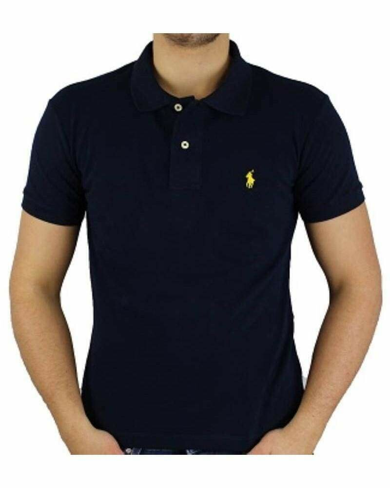 Ralph Lauren Custom Fit Men's Polo Shirts Small Pony Navy - Yellow