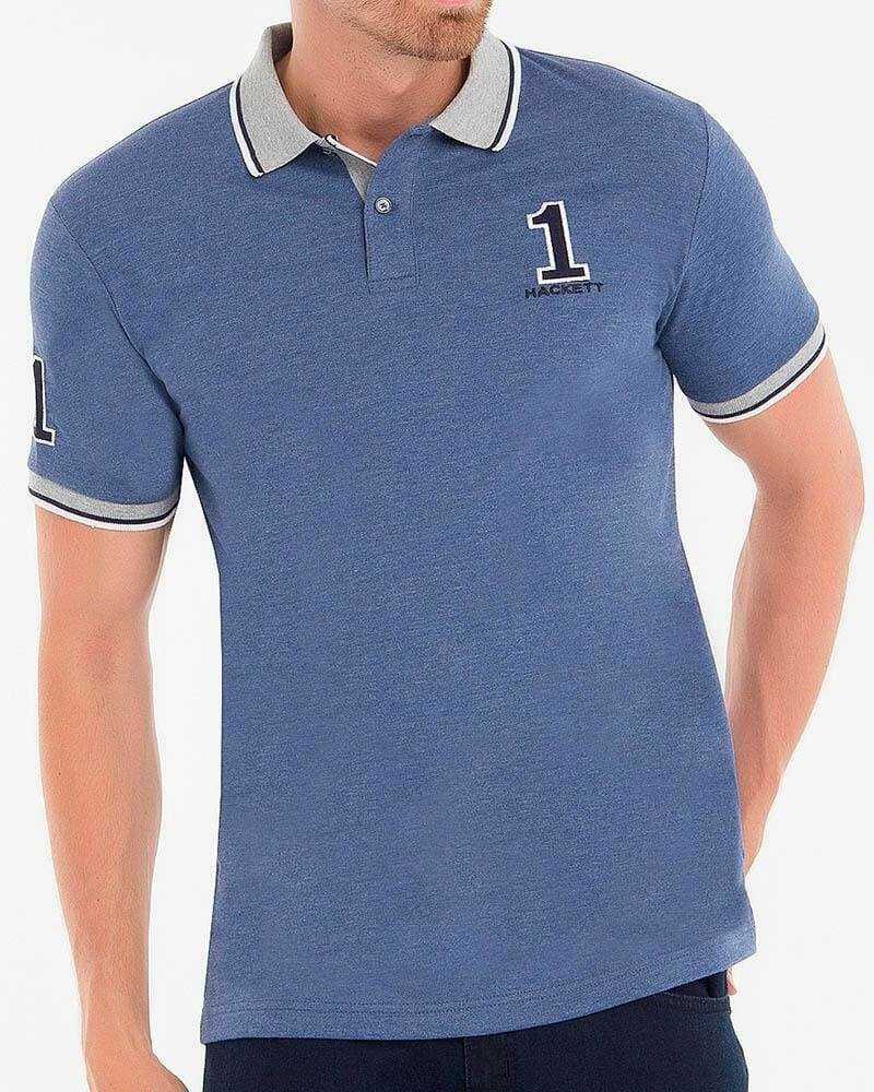 Hackett London Men's Polo Shirts Blue Anthracite
