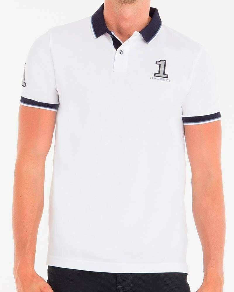 Hackett London Men's Polo Shirts Custom Fit White - Navy
