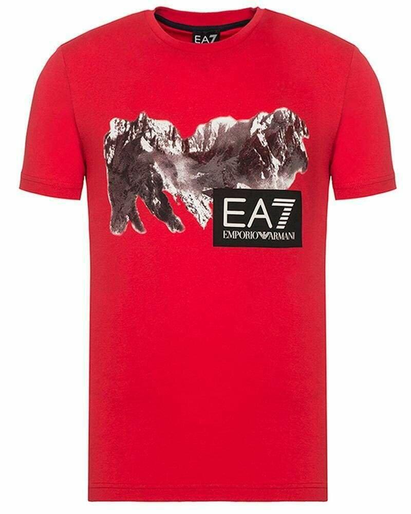 Emporio Armani Men's T-Shirts Crew Neck EA7 Mountain Red