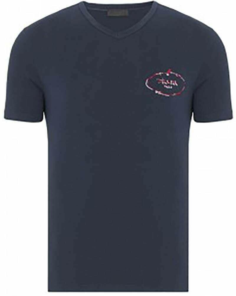 Prada Men's T-Shirt Crew Neck Navy