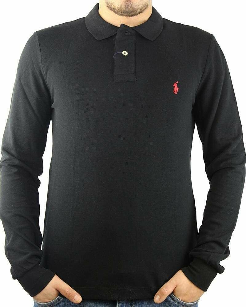 Ralph Lauren Men's Polo Shirts Long Sleeve Small Pony Black - Red