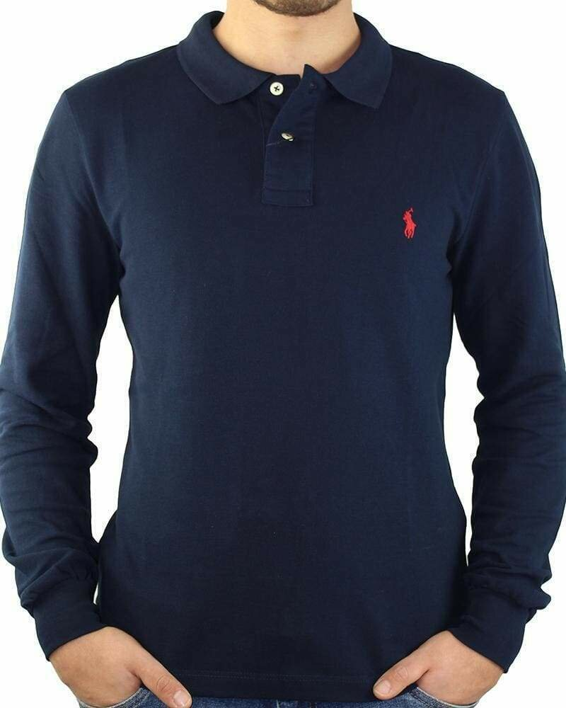 Ralph Lauren Men's Polo Shirts Long Sleeve Small Pony Navy - Red