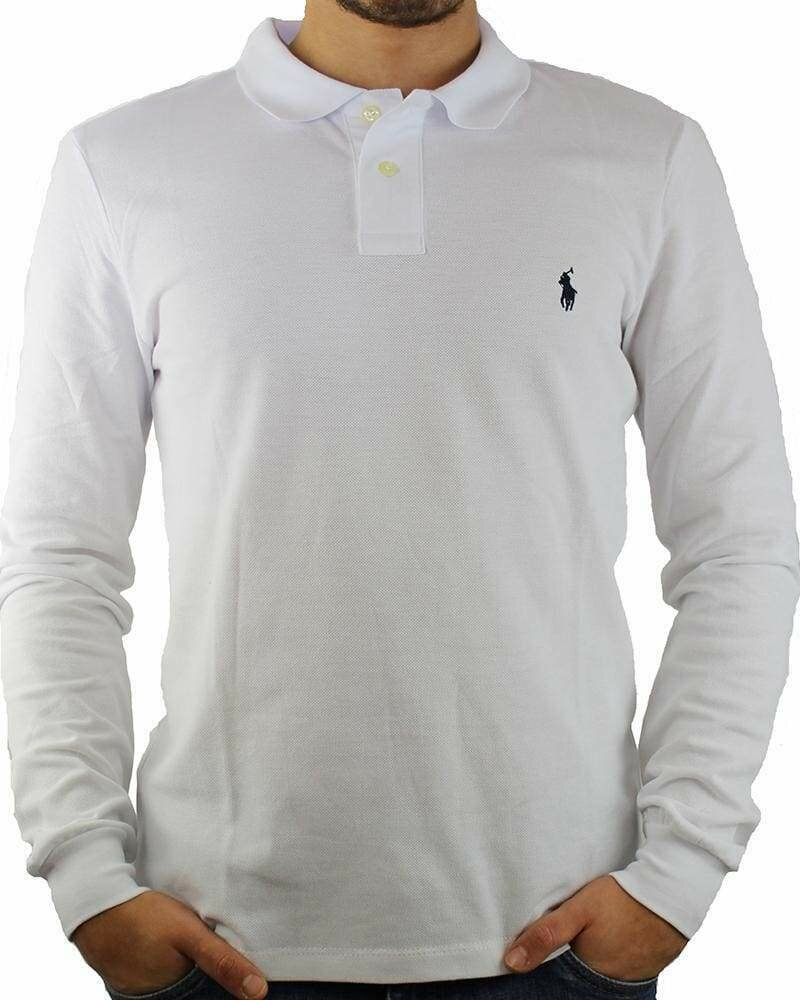 Ralph Lauren Men's Polo Shirts Long Sleeve Small Pony White