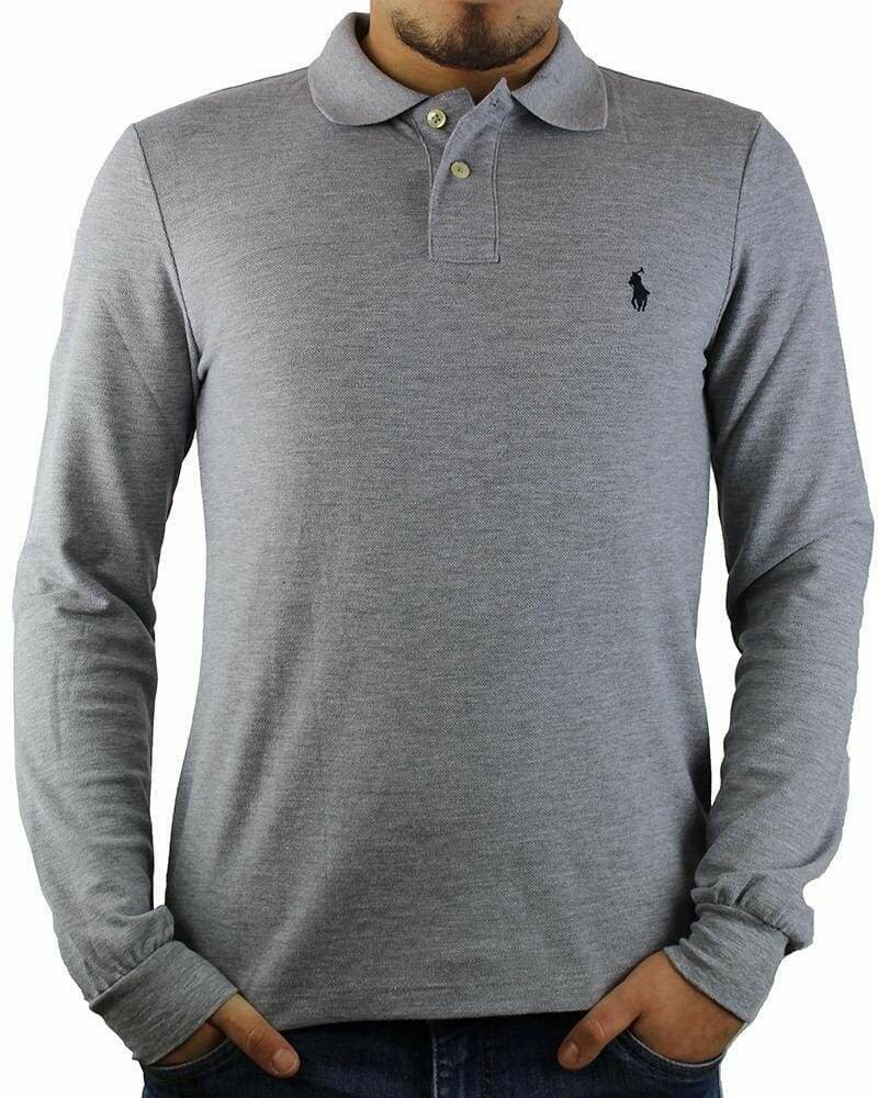 Ralph Lauren Men's Polo Shirts Long Sleeve Small Pony Gray