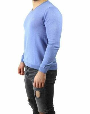 BOSS V Neck Men's Pullover Light Blue