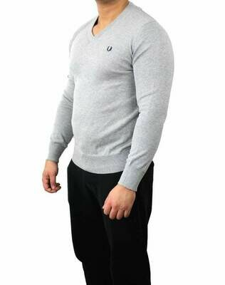 Fred Perry V Neck Men's Pullover Light Gray