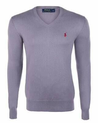 Ralph Lauren V Neck Men's Pullover Gray - Bordeaux