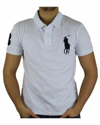 Ralph Lauren Custom Fit Men's Polo Shirts Big Pony White - Black
