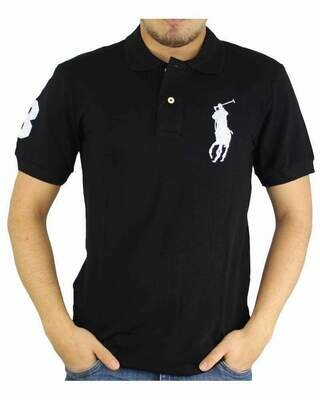 Ralph Lauren Slim Fit Men's Polo Shirts Big Pony Black - White