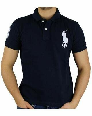 Ralph Lauren Slim Fit Men's Polo Shirts Big Pony Navy - White