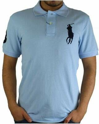 Ralph Lauren Slim Fit Men's Polo Shirts Big Pony Light Blue