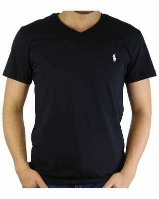 Ralph Lauren V - Neck Men's T-Shirt Black - White