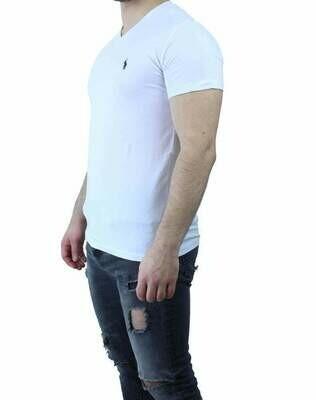 Ralph Lauren V Neck Men's T-Shirt White - Navy